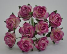 1.5cm DARK PLUM WHITE Mulberry Paper Roses
